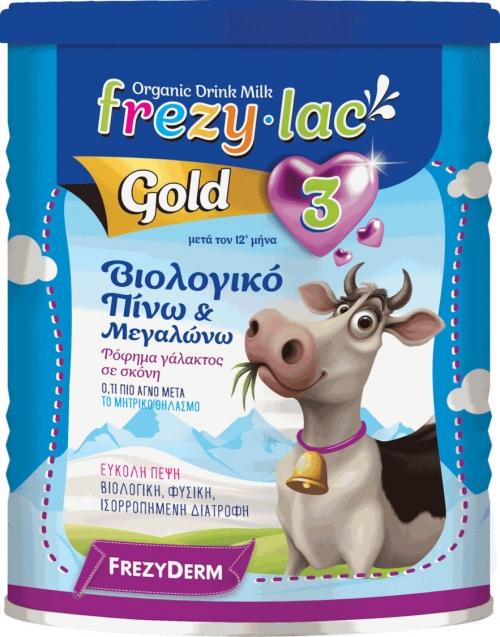 FREZYLAC GOLD 3 Ρόφημα Βιολογικού Αγελαδινού Γάλακτος σε σκόνη από τον 12 μήνα, 400gr