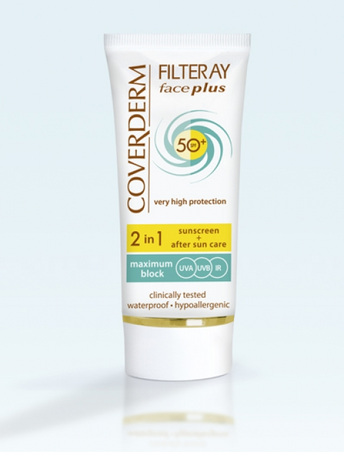 Coverderm Filteray face plus normal spf50 tinted cream light beige  Sunscreen+After aun care 2in1 50ml
