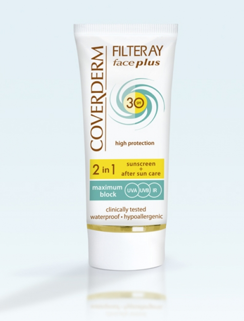 Coverderm Filteray face plus normal spf30 tinted cream light beige  Sunscreen+After aun care 2in1 50ml