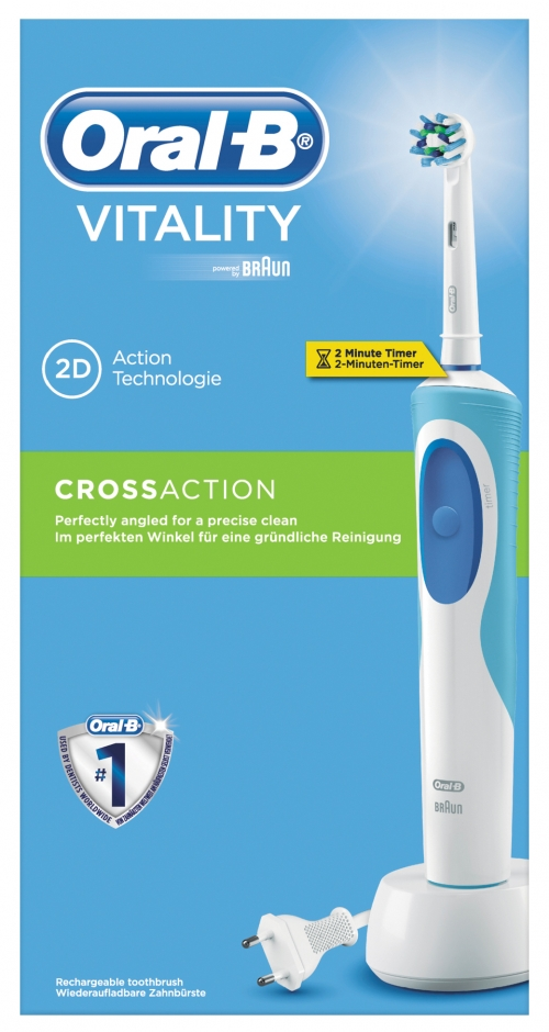 ORAL B Vitality Plus Cross Action 2D  Ηλεκτρική Οδοντόβουρτσα 1 τεμάχιο & 1 Κεφαλή Cross Action