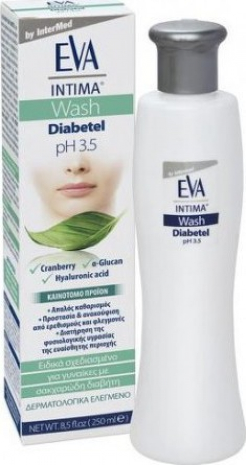 Eva Intima Wash Diabetel pH 3.5 , Υγρό Καθαρισμού Ευαίσθητης Περιοχής για Γυναίκες με Σακχαρώδη Διαβήτη, 250ml