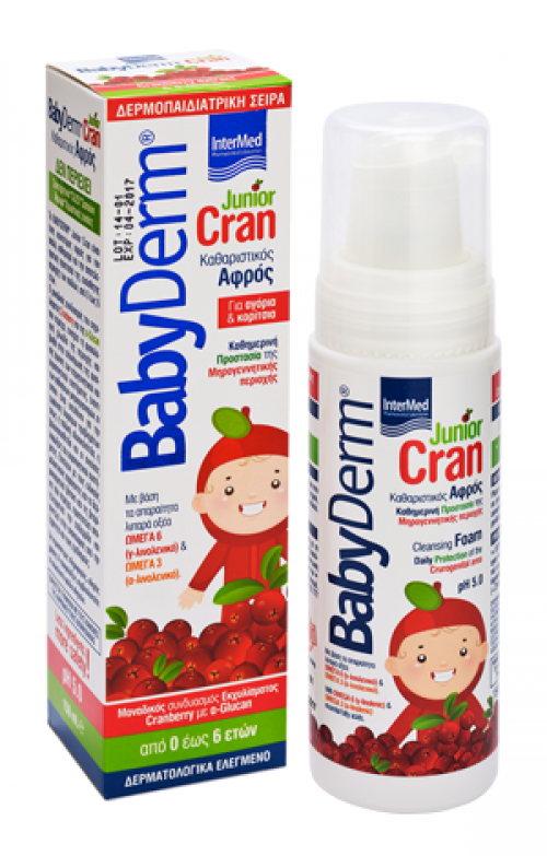 Babyderm Junior Cran Εκχύλισμα cranberry & α-glucan,ph5.0,150ml