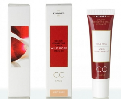 Korres Wild Rose CC Cream SPF 30 - Light Shade, 30ml : Ενυδατική Κρέμα Ανοιχτής απόχρωσης (Light).