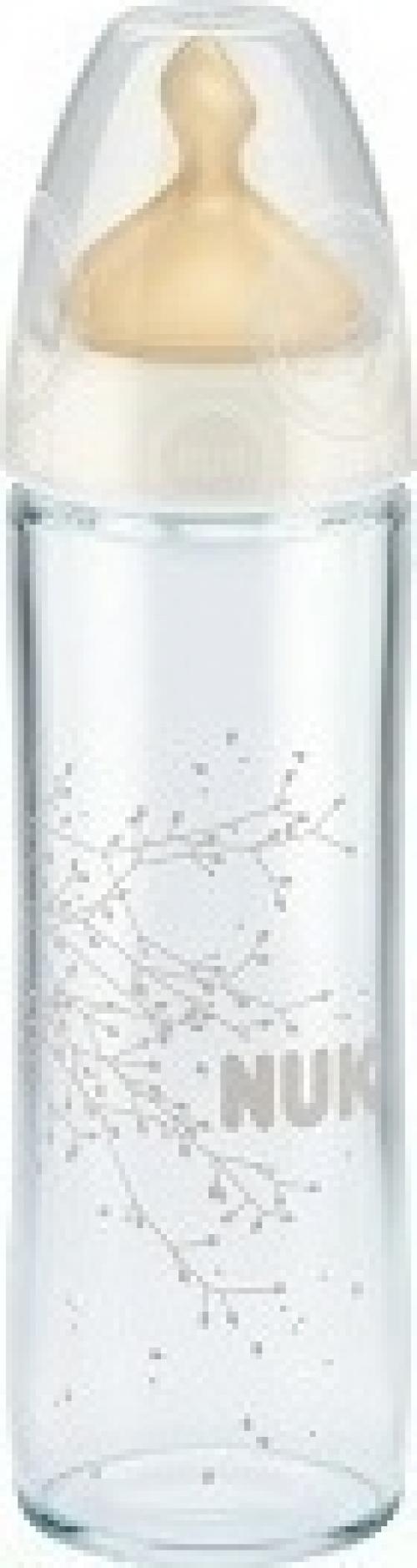 Nuk Classic Γυάλινο Μπιμπερό με Θηλή Καουτσούκ Λευκό 0-6m 240ml