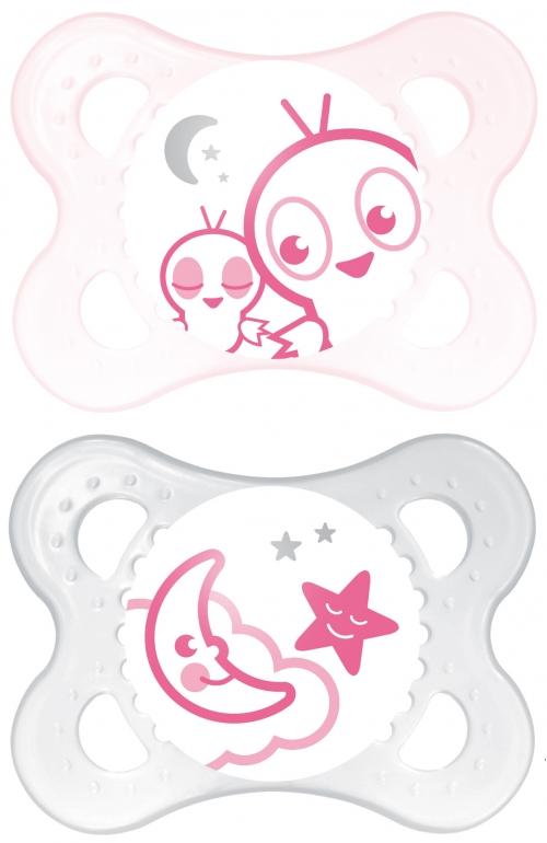 Mam Night Ορθοδοντική Πιπίλα Θηλή Σιλικόνη  Κουτί Μεταφοράς & Αποστείρωσης. 2TMX Ροζ-Ροζ Cartoon.(6M+) 111L