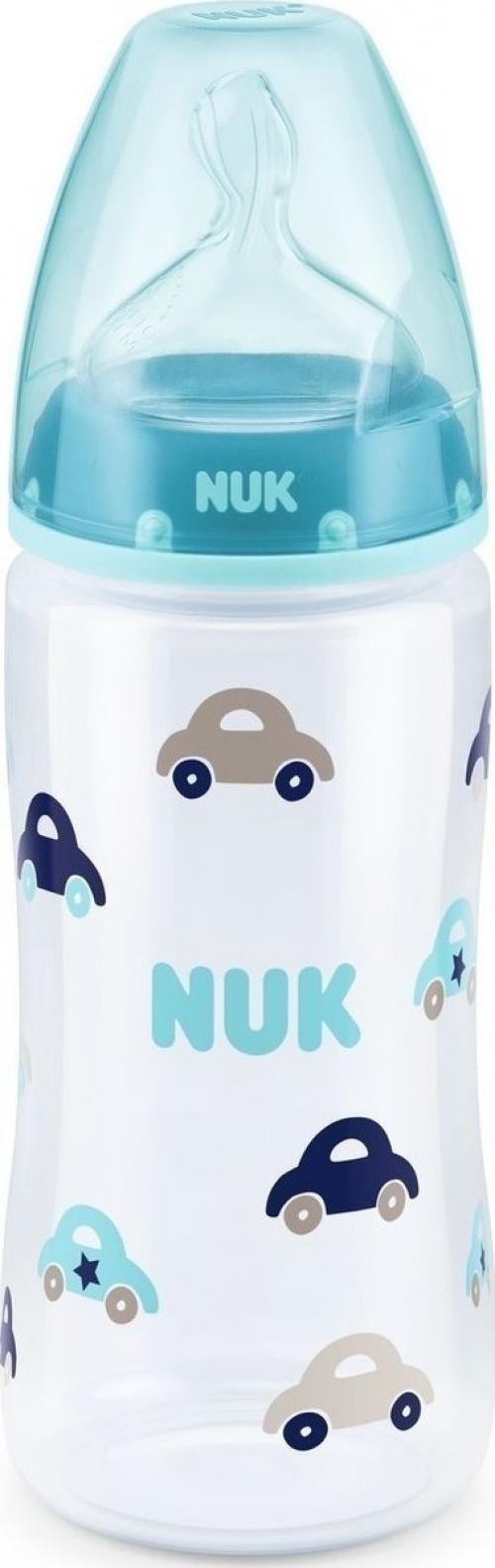 Nuk First Choice+ Μπιμπερό Πολυπροπυλενίου (PP) Πιπίλα Σιλικόνη Μπλε Αυτοκινητάκι 300ml