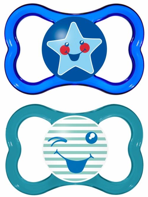 Mam Air Ορθοδοντική Πιπίλα Θηλή καουτσούκ με Κουτί Μεταφοράς & Αποστείρωσης. 2τμχ -Μπλε-Σκουρο Μπλε,(16+m) - 276L