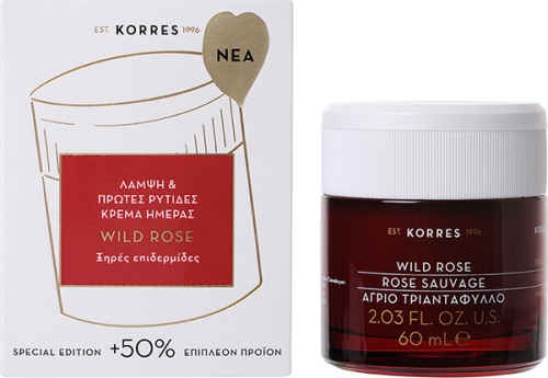 Korres Wild Rose Άγριο Τριαντάφυλλο Λάμψη & Πρώτες Ρυτίδες Κρέμα Ημέρας Ξηρές Επιδερμίδες 60ml