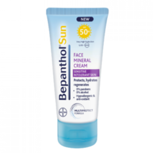 Bepanthol Sun SPF50+ Αντιηλιακή Κρέμα για Προσώπου με Φυσικά Φίλτρα για το ευαίσθητο, μη ανεκτικό δέρμα, 50ml