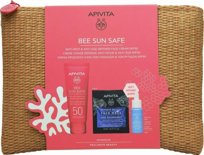Apivita Bee Sun Safe Anti Spot Anti Age Defence Face Cream SPF50 50ml, Aqua Beelicious Refresing Hydrating Booster 10ml,Express Beauty Face Mask Sea Lavender 2x8ml & Ψάθινο Νεσεσέρ