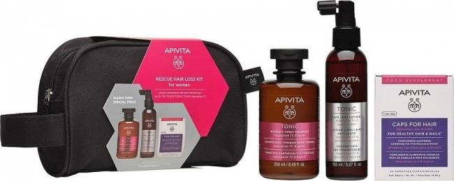 Apivita Rescue Hair Loss Kit Women Τονωτικό Σαμπουάν για Γυναίκες, 250ml & Λοσιόν Κατά της Τριχόπτωσης, 150ml & Συμπλήρωμα Διατροφής Κάψουλες για Υγιή Μαλλιά και Νύχια, 30 Κάψουλες