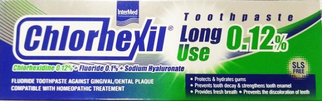Intermed Chlorhexil 0.12% Toothpaste Long Use 100ml - Φθοριούχος Οδοντόκρεμα Κατα της Ουλοοδοντικής Πλάκας