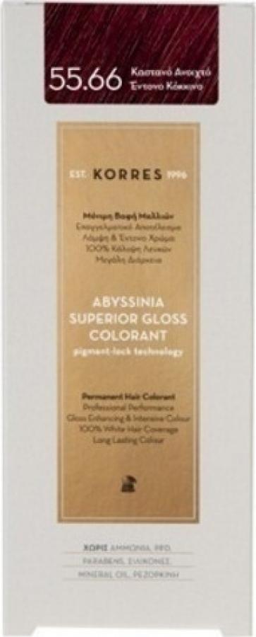 Korres Abyssinia Superior Gloss Colorant 55.66 Καστανό Ανοιχτό Έντονο Κόκκινο