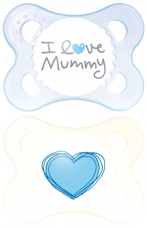 Mam I Love Mummy & Daddy Ορθοδοντική Πιπίλα Θηλή Καουτσ κ με Κουτί Μεταφοράς & Αποστείρωσης. 2τμχ,Θαλασσι-Λευκο,(0-6)116L
