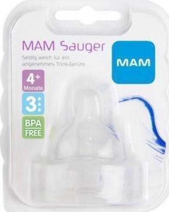 MAM Θηλή Σιλικόνης, Μεγάλη Ροή - Μέγεθος 3, 4+ Μηνών, 410S, Συσκευασία των 2 Τεμαχίων