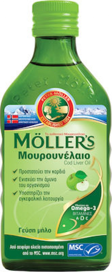 Moller's Cod Liver Oil Natural - Μουρουνέλαιο με Γεύση Μήλο 250ml