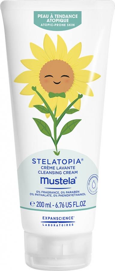 Mustela Bébé Stelatopia απαλή καθαριστική κρέμα για πολύ ξηρό ευαίσθητο και ατοπικό δέρμα