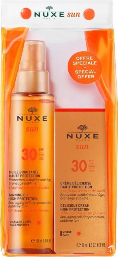 Nuxe Promo Sun Tanning Oil High Protection SPF30 Λάδι Μαυρίσματος για Πρόσωπο & Σώμα, 150ml & Delicious Anti Age Cream High Protection SPF30 Αντιηλιακή & Αντιγηραντική Κρέμα, 50ml